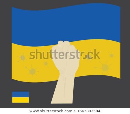 кулаком сопротивление Creative фон знак синий Сток-фото © OleksandrO
