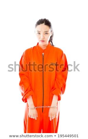 jungen · asian · Frau · stehen · einheitliche · orange - stock foto © bmonteny