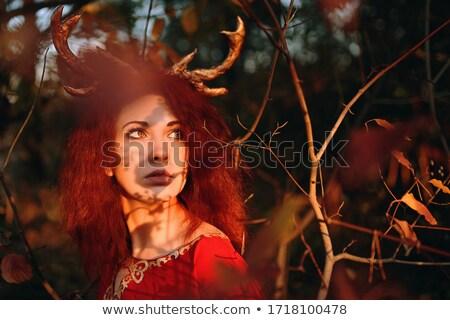 Сток-фото: женщину · красный · Роге · эротического · одежда · черный