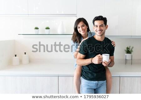 пару питьевой кофе вместе домой красивой Сток-фото © feelphotoart