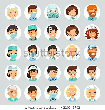 Stock photo: Doctors Cartoon Characters Icons Set2