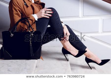 черный случайный Lady дизайна обувь кожа Сток-фото © dezign56