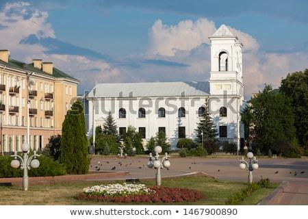 çapraz kilise din mavi vitray Stok fotoğraf © compuinfoto