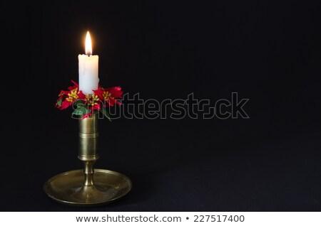 сжигание свечу украшенный расплывчатый старые Сток-фото © olandsfokus