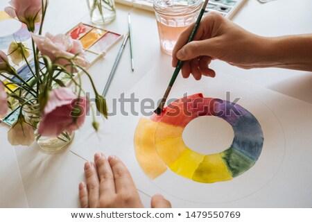 Colore grafico guidare pennello secchio di vernice bianco Foto d'archivio © ShawnHempel