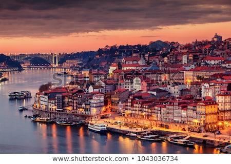 stad · Portugal · schemering · water · gebouwen · nacht - stockfoto © joyr