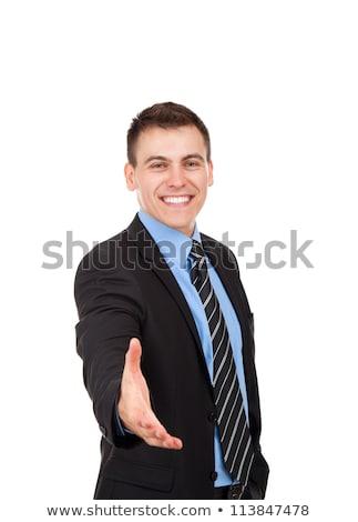 Przystojny biznesmen utrzymać strony widziane gest Zdjęcia stock © deandrobot