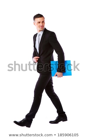 Businessman standing with blue folder in hands over white background Stock photo © deandrobot