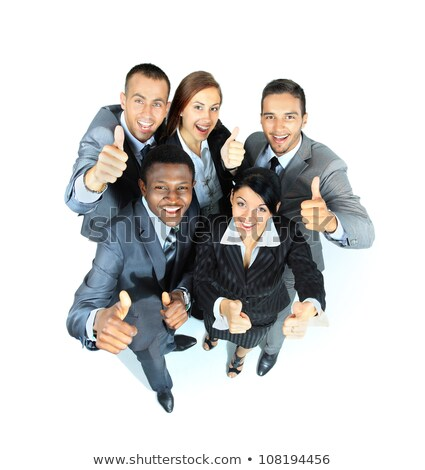 Group of business people standing in circle, with thumbs up
