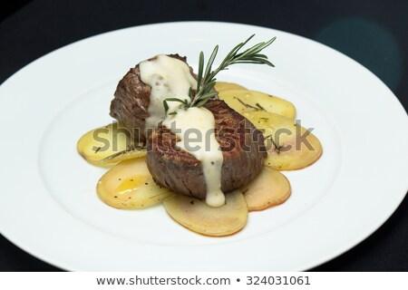 Stock fotó: Sült · medál · közelkép · mártás · zöldségek · vacsora