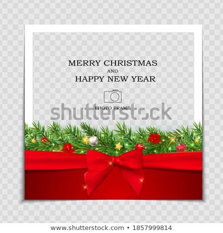 Karácsony üdvözlet fotó kártya kép illusztráció Stock fotó © Irisangel