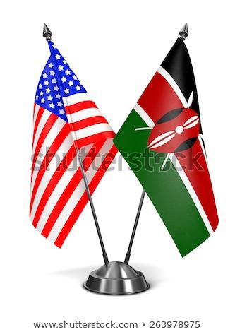 USA Kenya miniatűr zászlók izolált fehér Stock fotó © tashatuvango