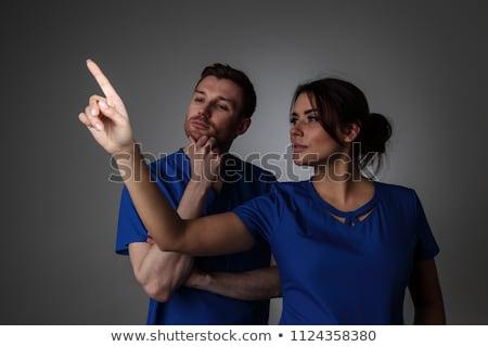vrouw · werken · denkbeeldig · virtueel · scherm · business - stockfoto © hasloo