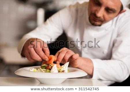 Szakács gurmé lazac vacsora szeletel friss Stock fotó © ozgur