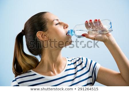 mooie · blond · meisje · drinkwater · blauwe · hemel · sexy - stockfoto © fanfo