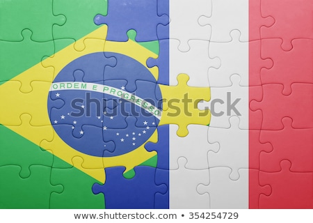 france and brazil flags in puzzle stock photo © istanbul2009