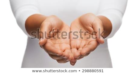 Stock fotó: Kezek · közelkép · mutat · valami · nő · kéz