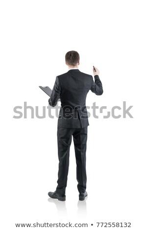 Hátsó nézet üzletember ír jelző fehér üzlet Stock fotó © wavebreak_media