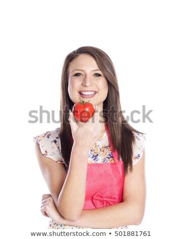 笑顔の女性 · トマト · 孤立した · 白 · 食品 - ストックフォト © deandrobot