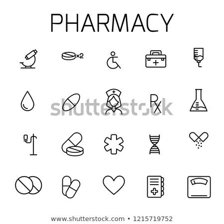 Hospital line icons on green background Stock photo © punsayaporn