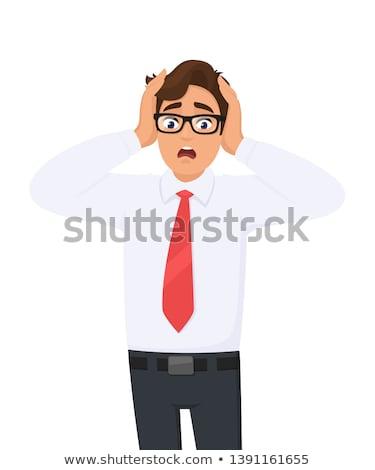 деловой человек страхом лице изолированный человека печально Сток-фото © fuzzbones0