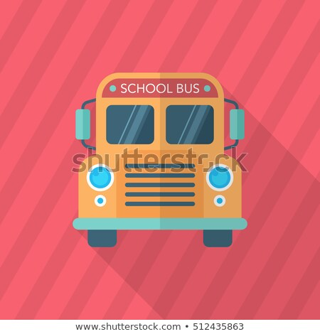 flat transportation school bus circle icon with long shadow stock photo © anna_leni