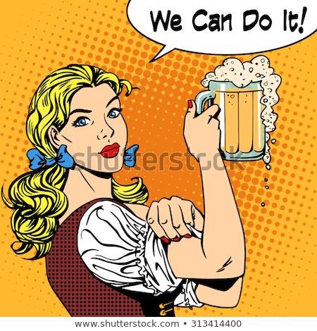 девушки официантка пива можете Октоберфест фестиваля Сток-фото © studiostoks