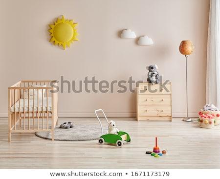 nino · cuna · bebé · jugando · Navidad · pelota - foto stock © adrenalina
