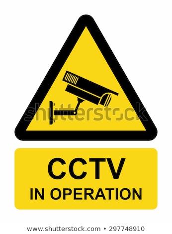 Cctv felirat citromsárga vektor ikon terv Stock fotó © rizwanali3d