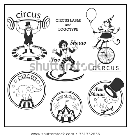 Stock photo: Sketch circus lable and logotype in vintage style