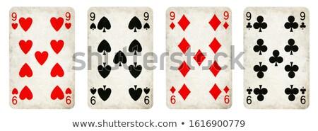 Nove diamantes jogar cartão branco vermelho Foto stock © Bigalbaloo