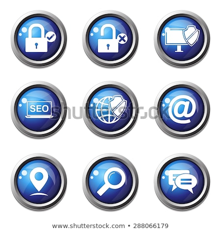 Protected Circular Blue Vector Web Button Icon Stock photo © rizwanali3d