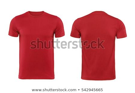 Genç kırmızı tshirt bakıyor uzak doğa Stok fotoğraf © slavick
