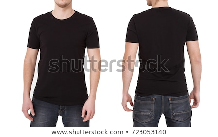Stockfoto: Rear View Of Man In Black Tshirt On White Background