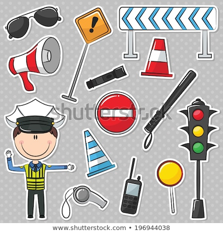 traffic policeman with different useful tools stock photo © netkov1