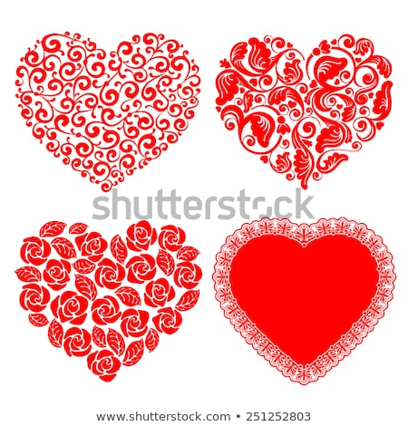 Kırmızı dantel kalp parlak beyaz Stok fotoğraf © ElaK