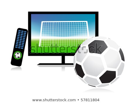 Television Displaying Soccer Ball And Net Stock photo © AndreyPopov