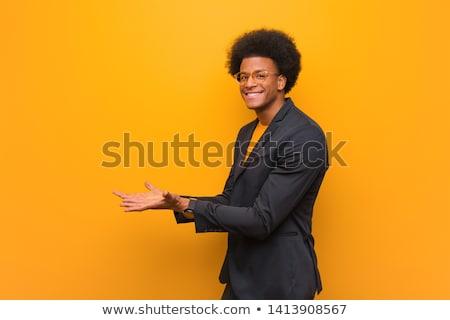 empresário · algo · palma · mão · fundo - foto stock © ra2studio