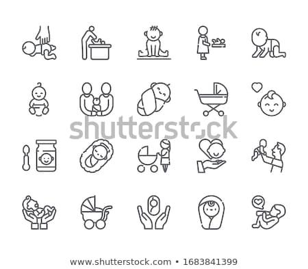 szoptatás · vonal · ikon · sarkok · háló · mobil - stock fotó © rastudio