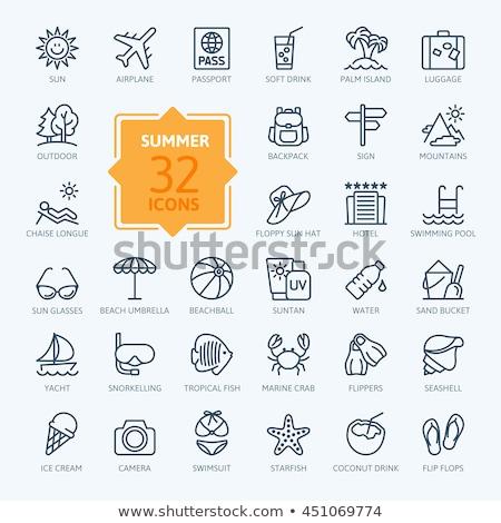 Guarda-sol linha ícone teia móvel infográficos Foto stock © RAStudio