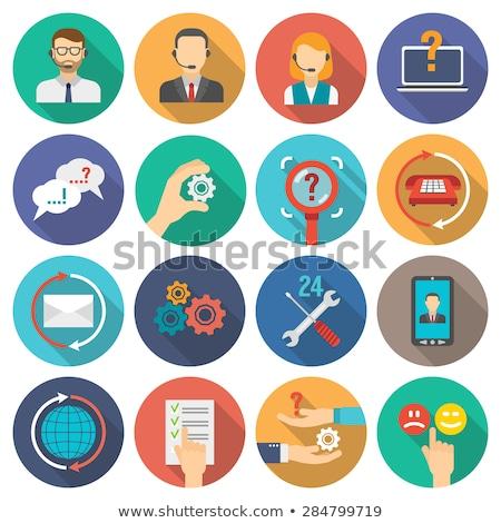 Teknik destek ikon dizayn iş gri düğme Stok fotoğraf © WaD