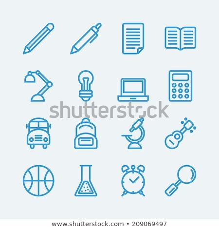блокнот · карандашом · линия · икона · уголки · веб - Сток-фото © rastudio
