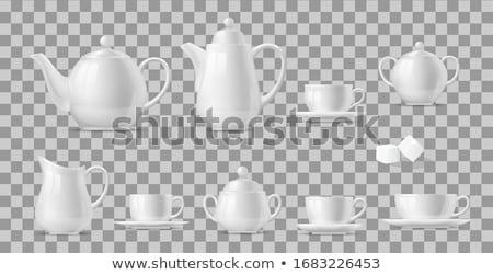 Taza tetera Servicio blanco té verde mano Foto stock © dmitroza