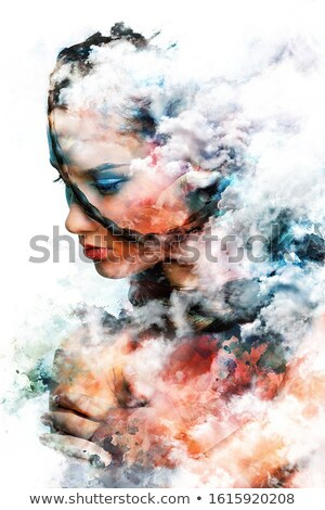 Beautiful woman with a bright make-up. Digital watercolor painting.  Stock photo © amok
