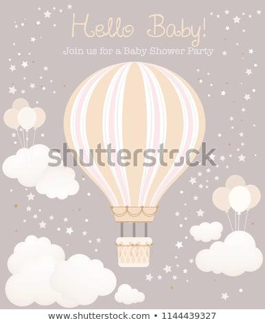 baby girl shower card with hot air balloon Stock photo © balasoiu
