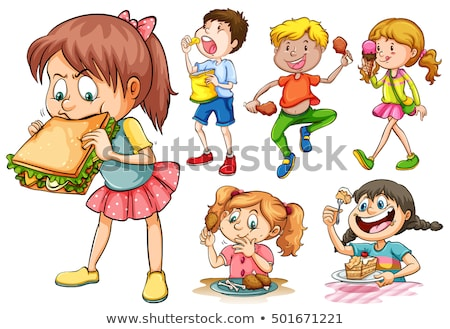 Children eating different kind of food Stock photo © bluering