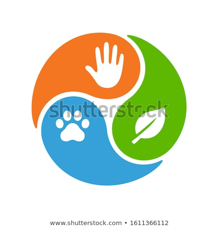 Stock photo: Yin Yang symbol with paw and hand vector