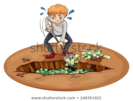 A man digging the money in the pit Stock photo © bluering