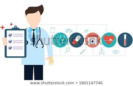 Medical check up with man doctor characters and icons set. Stock photo © mangsaab