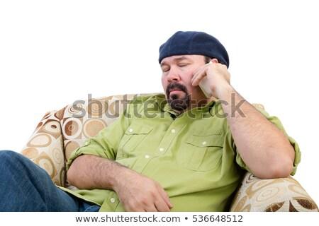Entediado excesso de peso homem móvel poltrona branco Foto stock © ozgur